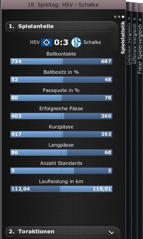 Die Team-Statistik auf der Fußball-App von SPIEGEL ONLINE