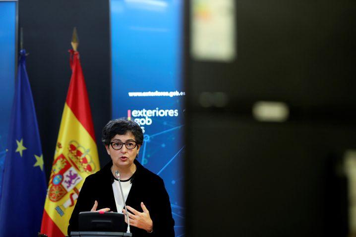 Arancha González Laya bei einer Pressekonferenz in Madrid – sie spricht sich für eine schnelle Einigung zu Gibraltar aus