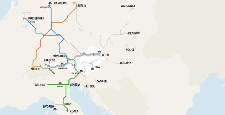 Streckennetz der ÖBB
