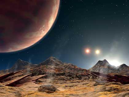 Dreifach-Sternsystem (Zeichnung): Drei Sonnen, ein Planet