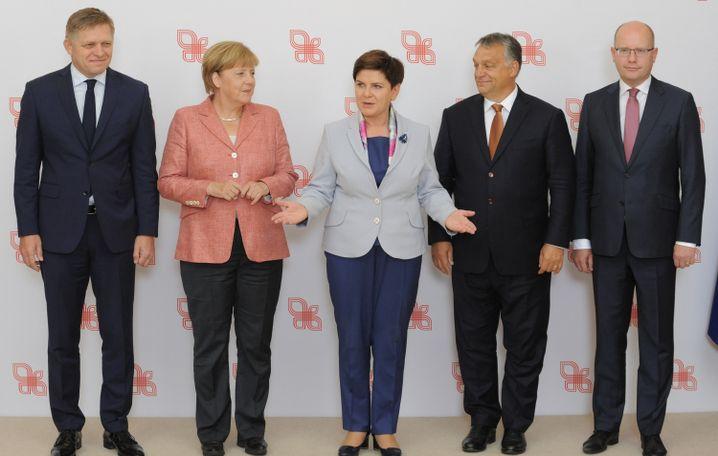 Slowakischer Ministerpräsident Fico, Merkel, Polens Premierministerin Szydlo, Ungarns Ministerpräsident Orbán und Tschechiens Ministerpräsident Sobotka