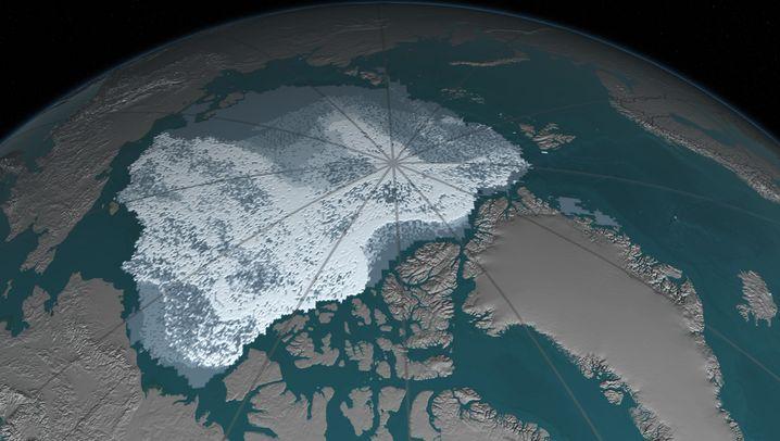 Vergleich der Ausdehnung des Meereises in der Arktis: September 1984 und September 2016