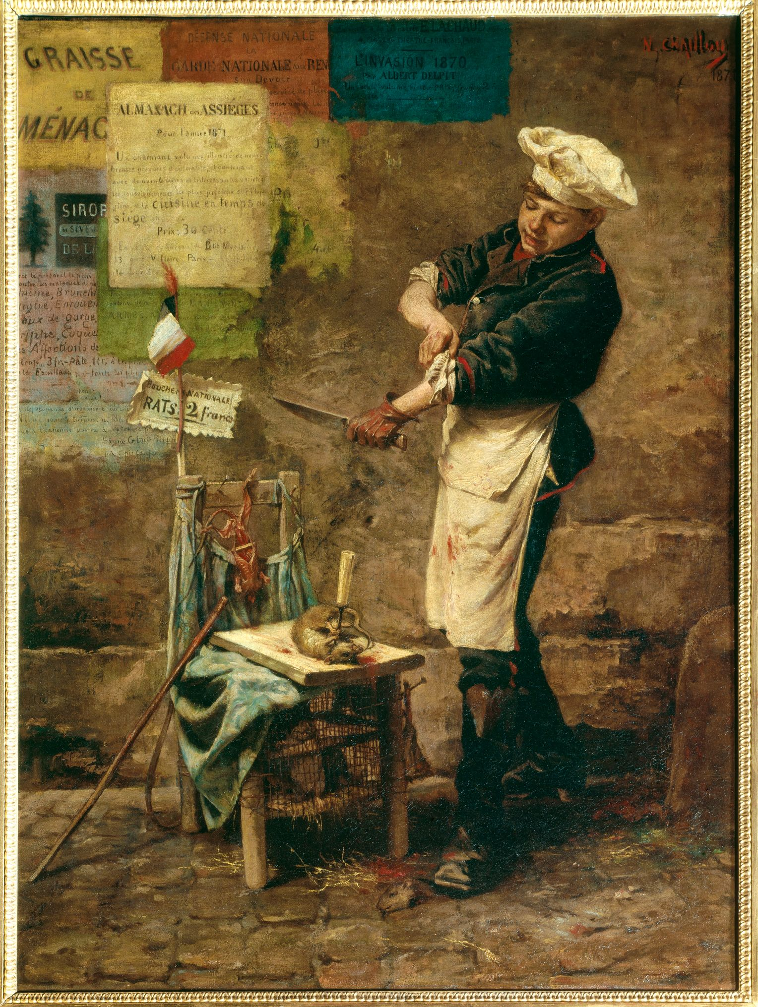 На этой картине   изображен мясник Нарцисс Шайю (1835-1916), который в 1870 году продавал крыс в Париже за два франка.