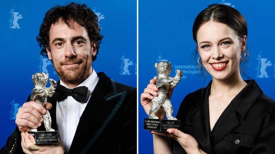 Sie waren noch nach Geschlechtern getrennt: Berlinale-Preisträger 2020 Elio Germano und Paula Beer