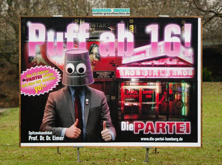 """""""Die Partei wählen und dann fett abnudeln"""": Plakat von """"Die Partei"""""""
