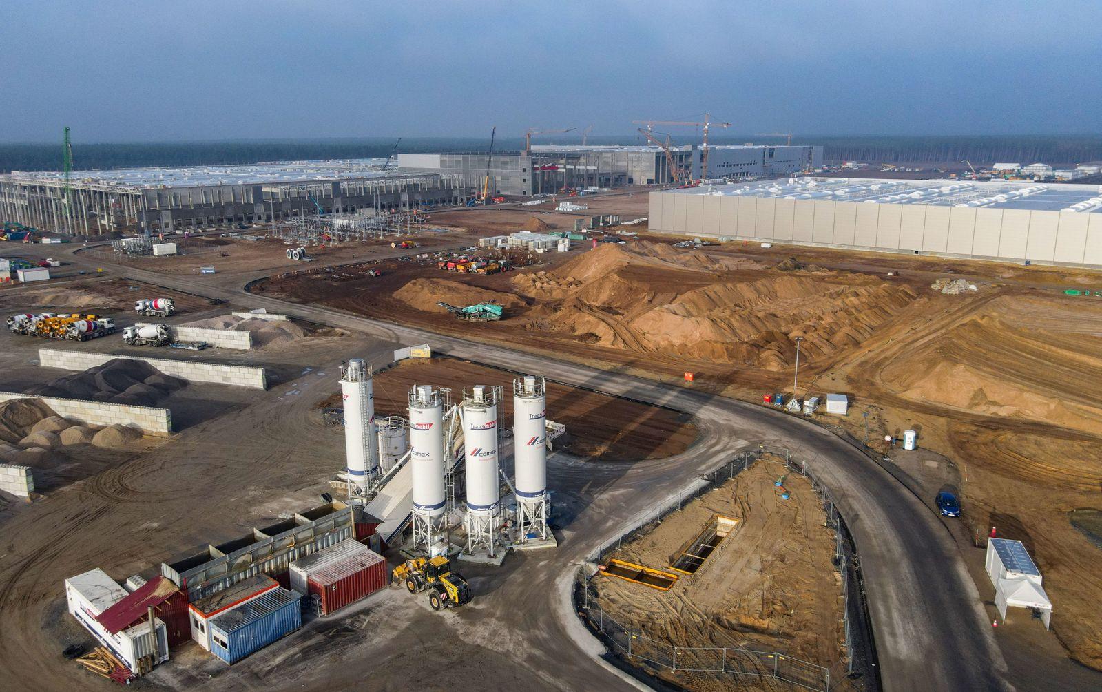 Baustelle der Tesla Giga-Factory in Grünheide