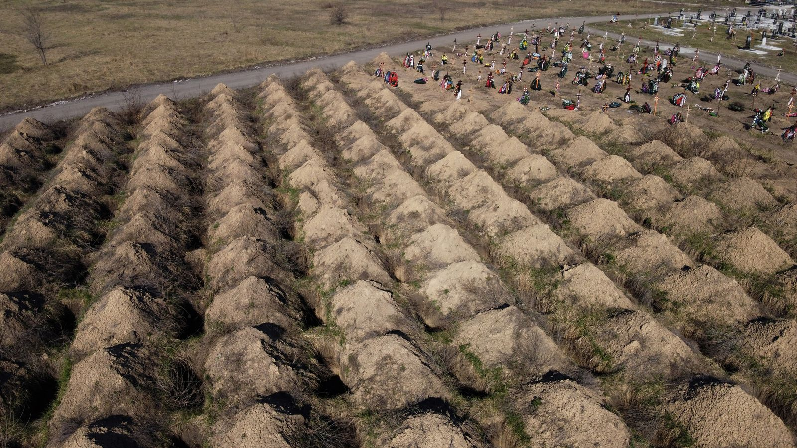 An aerial view shows graves, which according to local authorities were prepared for potential victims of the coronavirus disease (COVID-19) in Dnipro
