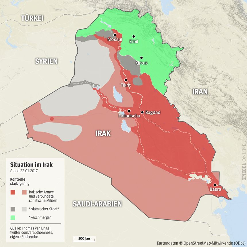 Grafik Karte Irak - 22-01-2017