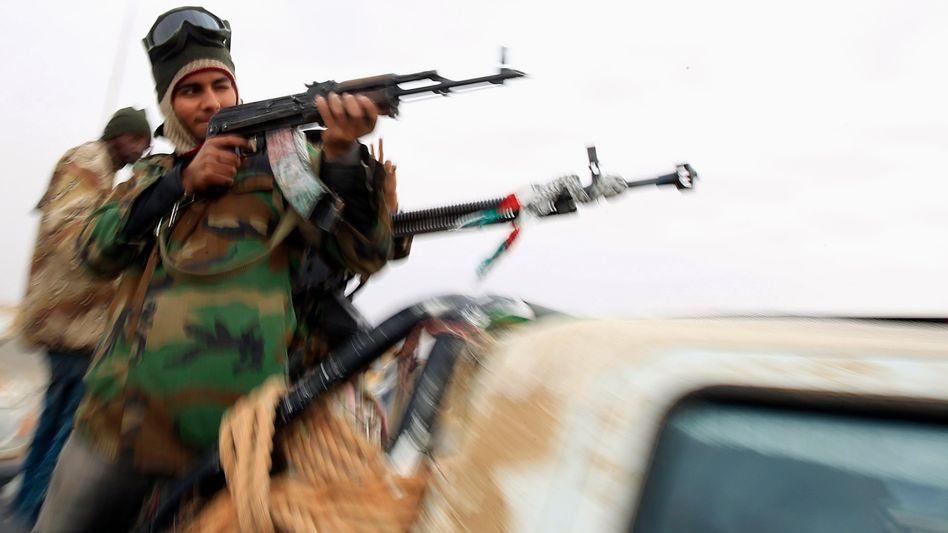 Libysche Rebellen auf einem Pickup: Schlecht ausgebildet, aber hoch motiviert