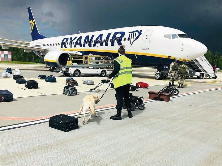 The Ryanair jet in Minsk: Officials in Belarus claimed there had been a bomb threat against the aircraft.