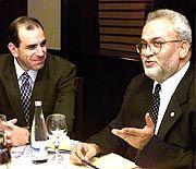 PLO-Chefunterhändler Serekat (rechts): Tief enttäuscht über die arabischen Staaten