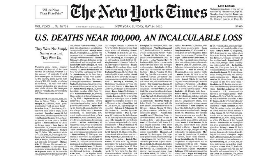 """Titelseite der """"New York Times"""" vom 24. Mai 2020."""