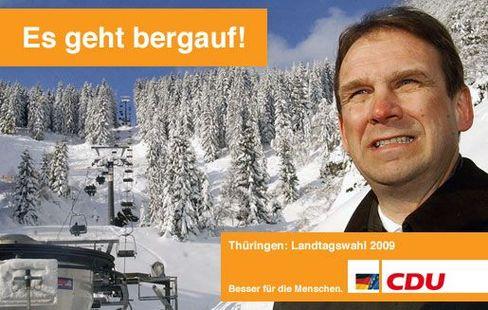 Auch als Warnschild in den thüringischen Skigebieten einsetzbar: mögliches CDU-Wahlplakat