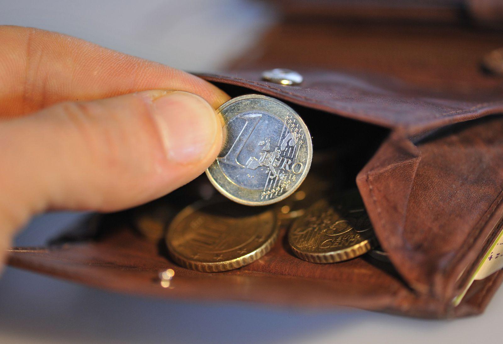 Steuer / Euro-Münze / Geldbeutel