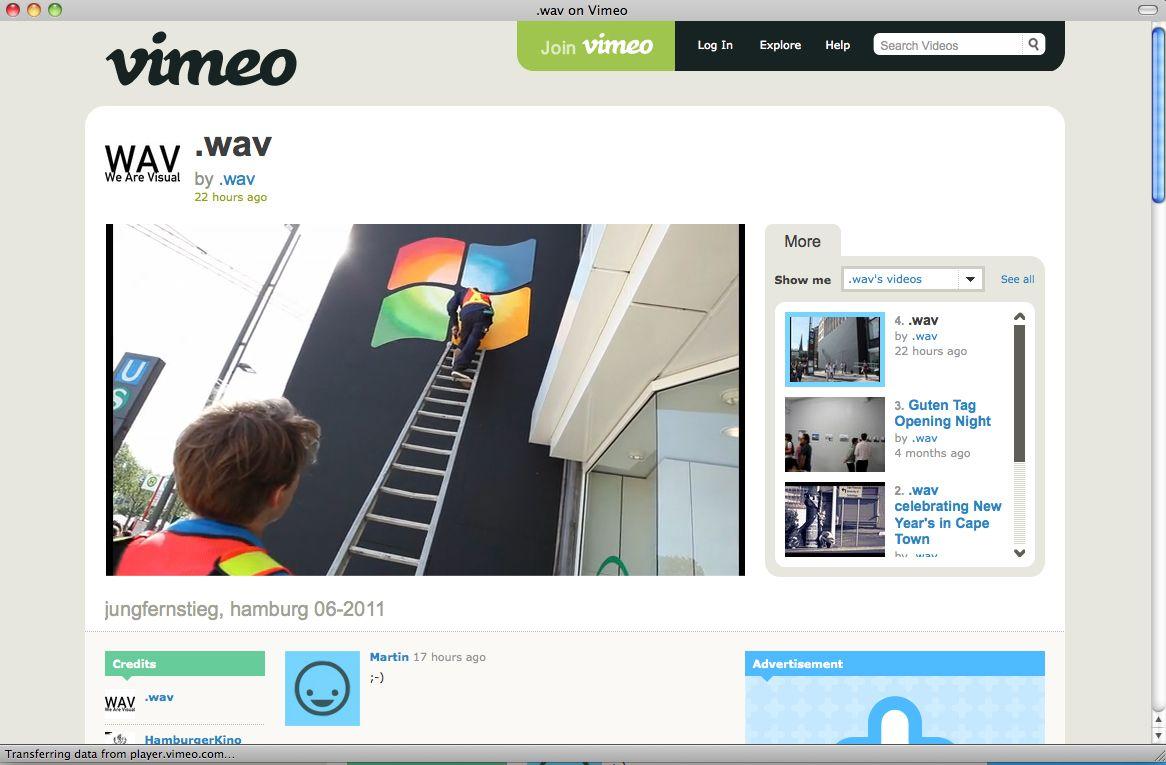 EINMALIGE VERWENDUNG VIDEO SCREENSHOT Vimeo Windows-Logo