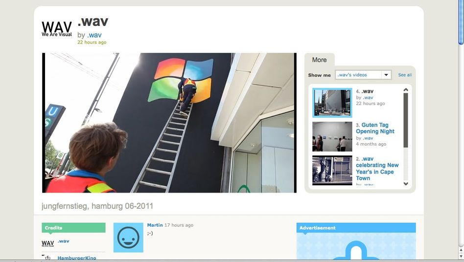 Video der Guerilla-Aktion: Windows-Logo an der Apple-Fassade