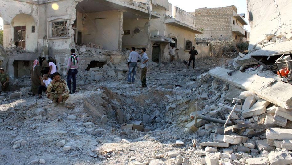 Zerstörte Häuser in der Stadt Maaret al-Numan: Heftige Attacken des syrischen Militärs