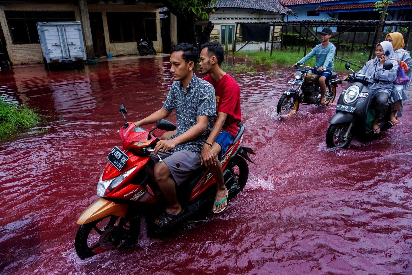 People ride motorbikes through a flooded road in Pekalongan