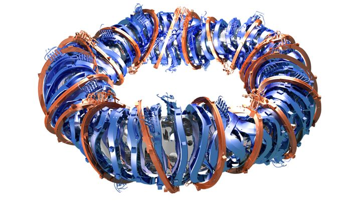 Computergrafik: 50 nicht ebene Spulen (blau) und 20 ebene Spulen (bronze) erzeugen das verdrillte Magnetfeld