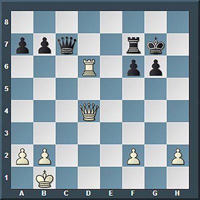 Anands Initiative war verpufft und er stand wegen seiner Bauernschwächen auf f2 und h2 minimal schlechter, aber die aktive Stellung von Dame und Turm sollte Weiß den Ausgleich sichern.