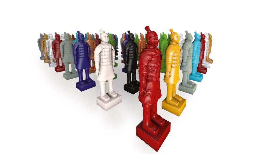 Bunte 3D-Figuren: Kunststoff, Papier und sogar Titan können Druckmaterial sein