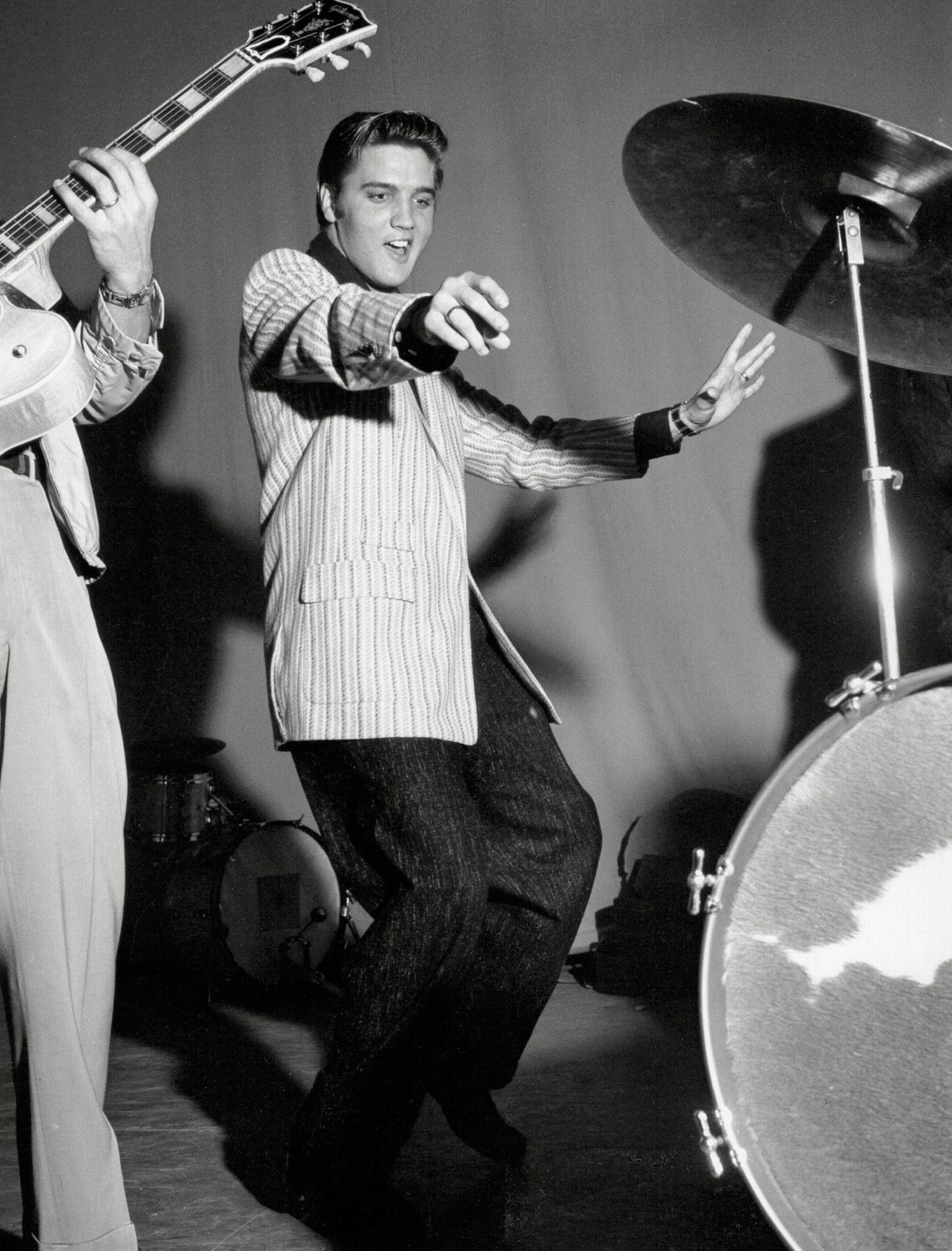 Elvis Presley during rehearsals for one of his early TV appearances on the Milton Berle Show June 5