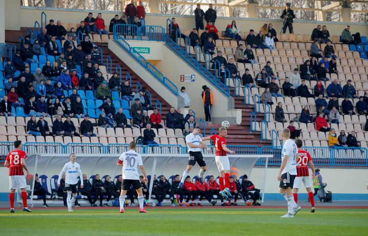 Fußballspiel in Weißrussland am 27. März: Nach wie vor spielt die höchste Liga vor Zuschauern, als einzige in Europa