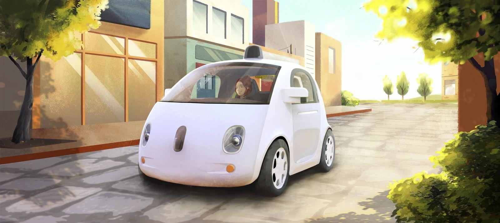 Google Self Driving Car / Auto / Straße