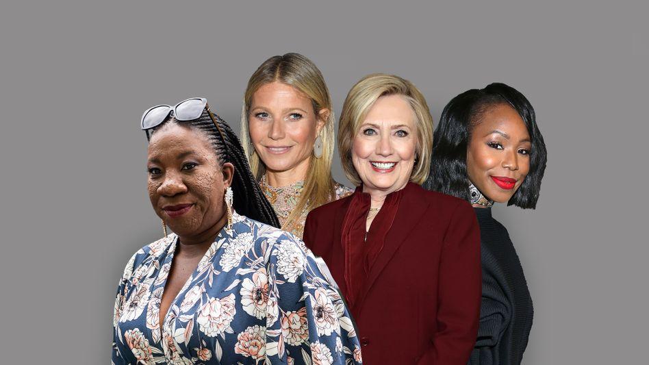 Tarana Burke (von links), Gwyneth Paltrow, Hillary Clinton und Kahlana Bargfield Brown sind bei #ShareTheMicNow dabei