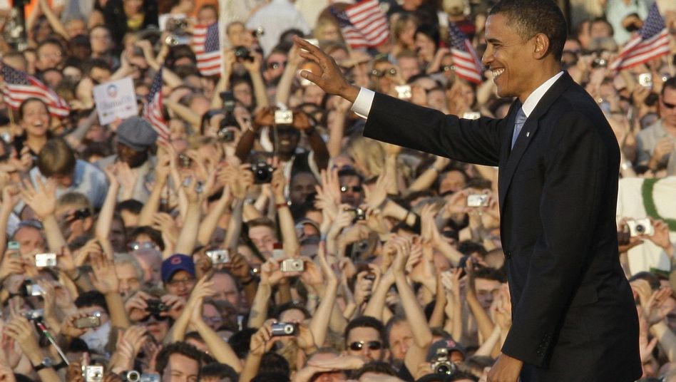The good old days: Barack Obama addressing euphoric crowds in Berlin during his presidential campaign.