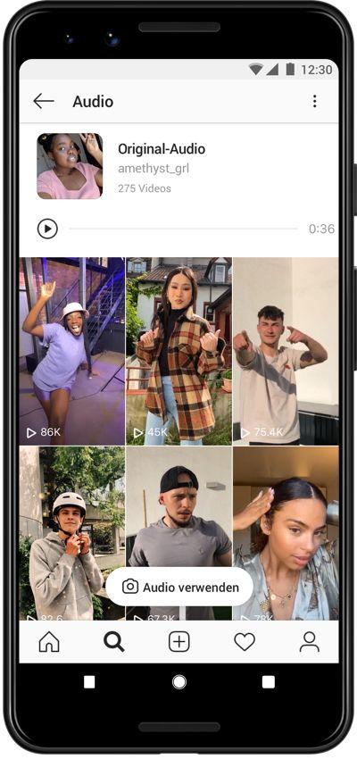 Reels-Nutzer können eigene Audioaufnahmen verwenden, aber auch neue Videos zu den Aufnahmen anderer Nutzer drehen