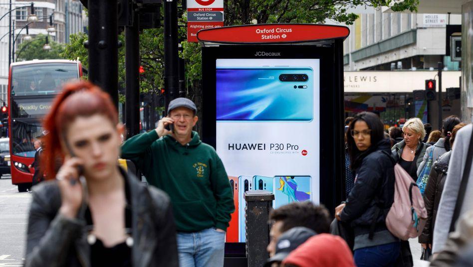 Huawei-Werbung in London: Der Konzern steht im Zentrum eines weltweiten Wirtschaftskrieges