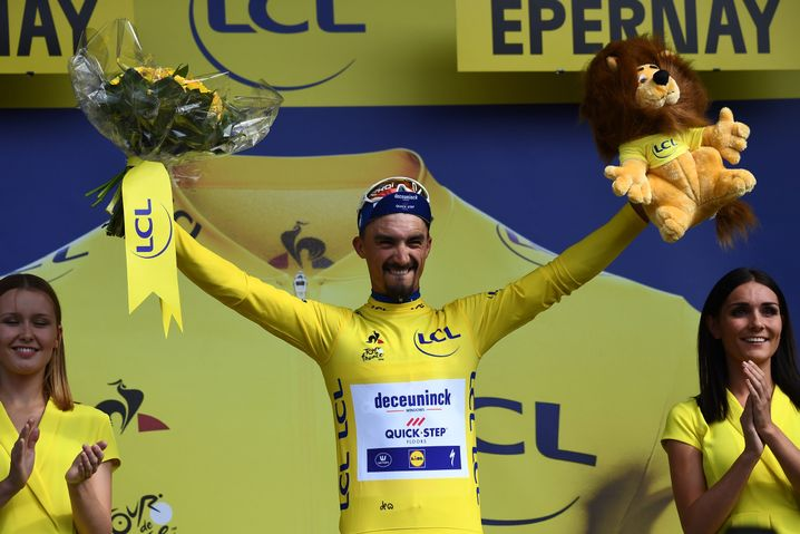 Julian Alaphilippe eroberte das Gelbe Trikot
