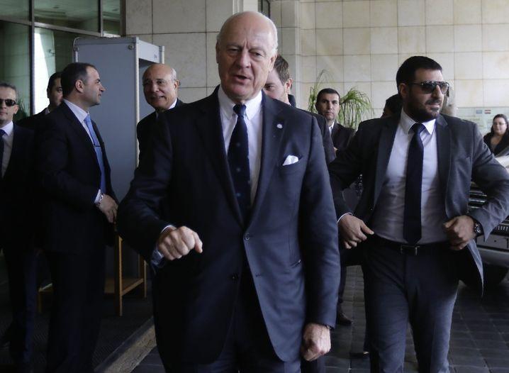 Mistura bei seiner Ankunft in Damaskus