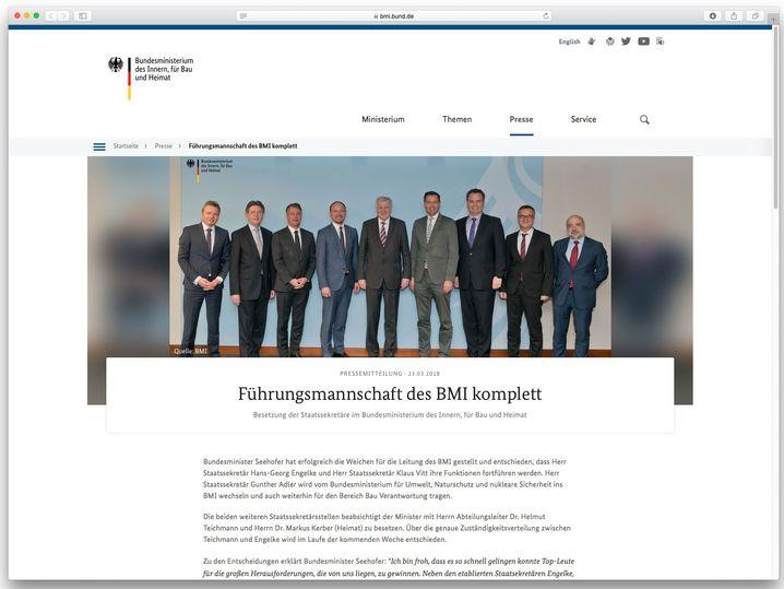 Screenshot von der Homepage des Bundesinnenministeriums