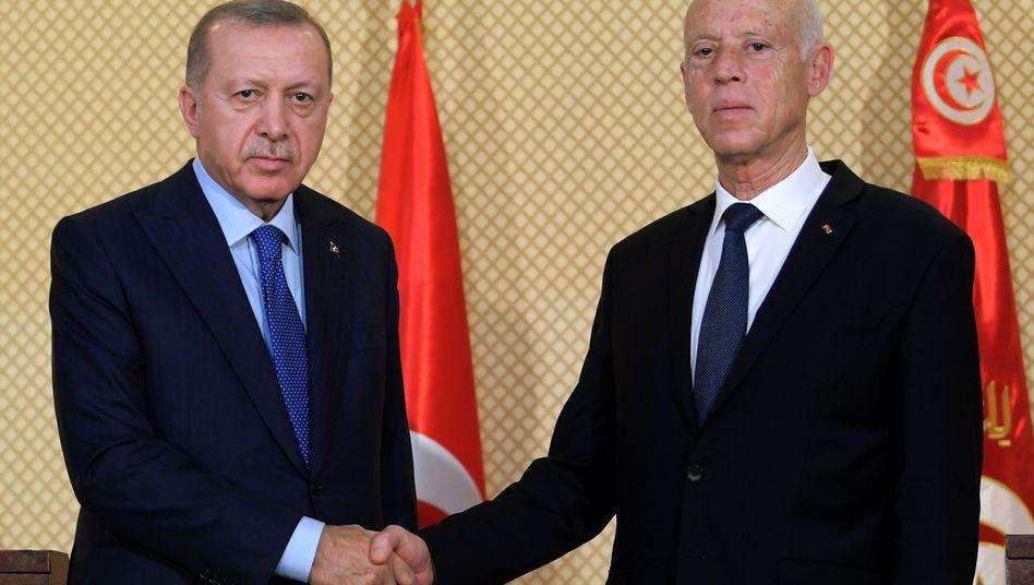 Türkischer Präsident Erdogan, tunesischer Amtskollege Saied: Erster Besuch eines Staatsoberhauptes seit Wahl im Oktober