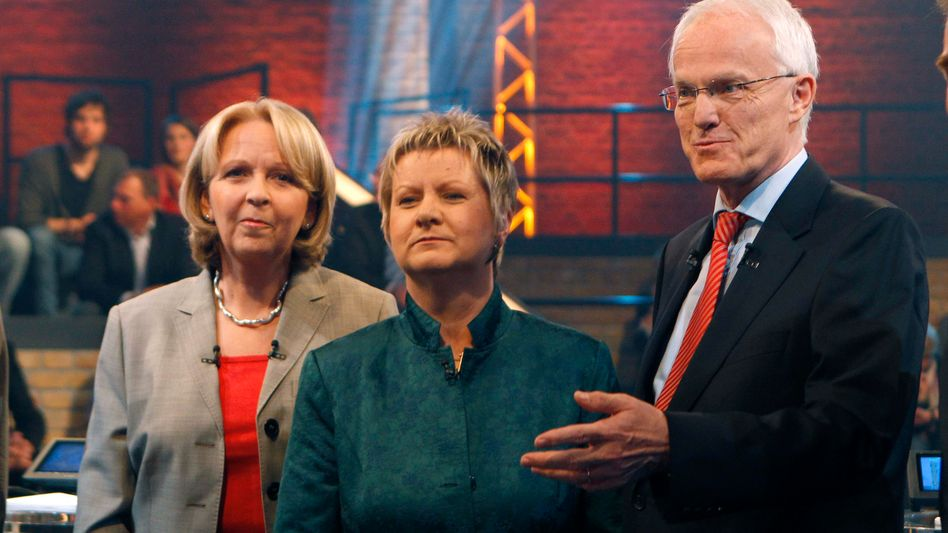 Kandidaten Kraft, Löhrmann, Rüttgers (bei TV-Duell): Sieben Optionen, welche kommt?