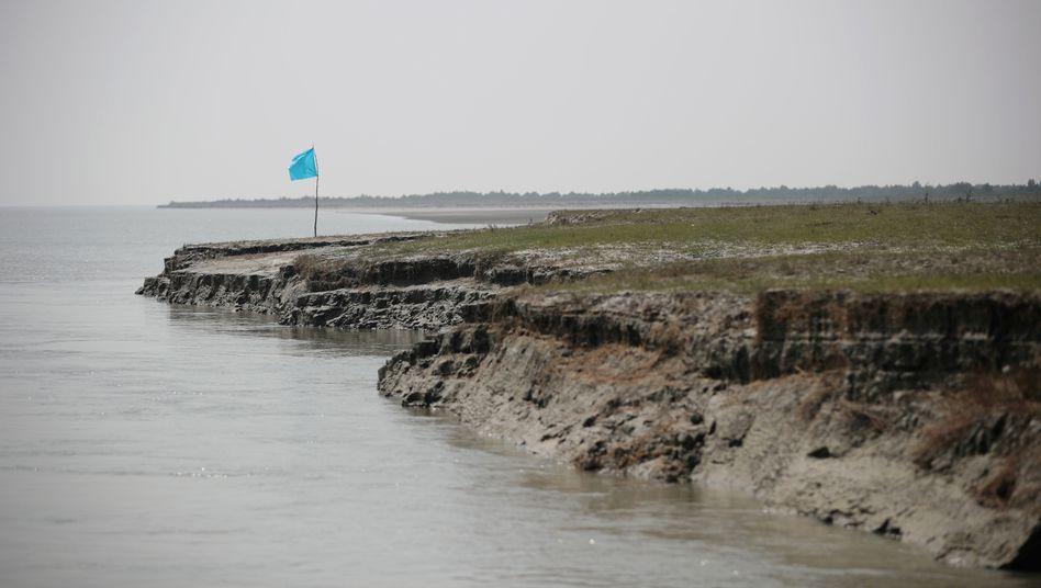 Küste von Bhasan Char (im Februar 2018): Regelmäßige Überschwemmungen