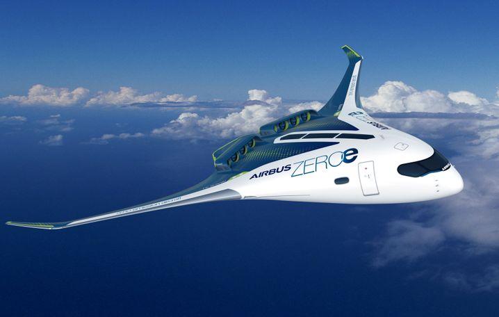 """Konzept eines """"Blended-wing-body""""-Flugzeugs mit Wasserstoffantrieb"""