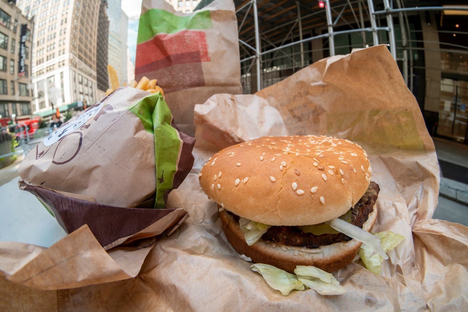 Burger King debuts the Impossible Whopper Burger King reduced methane emissions beef Whoppers in New York on the day of