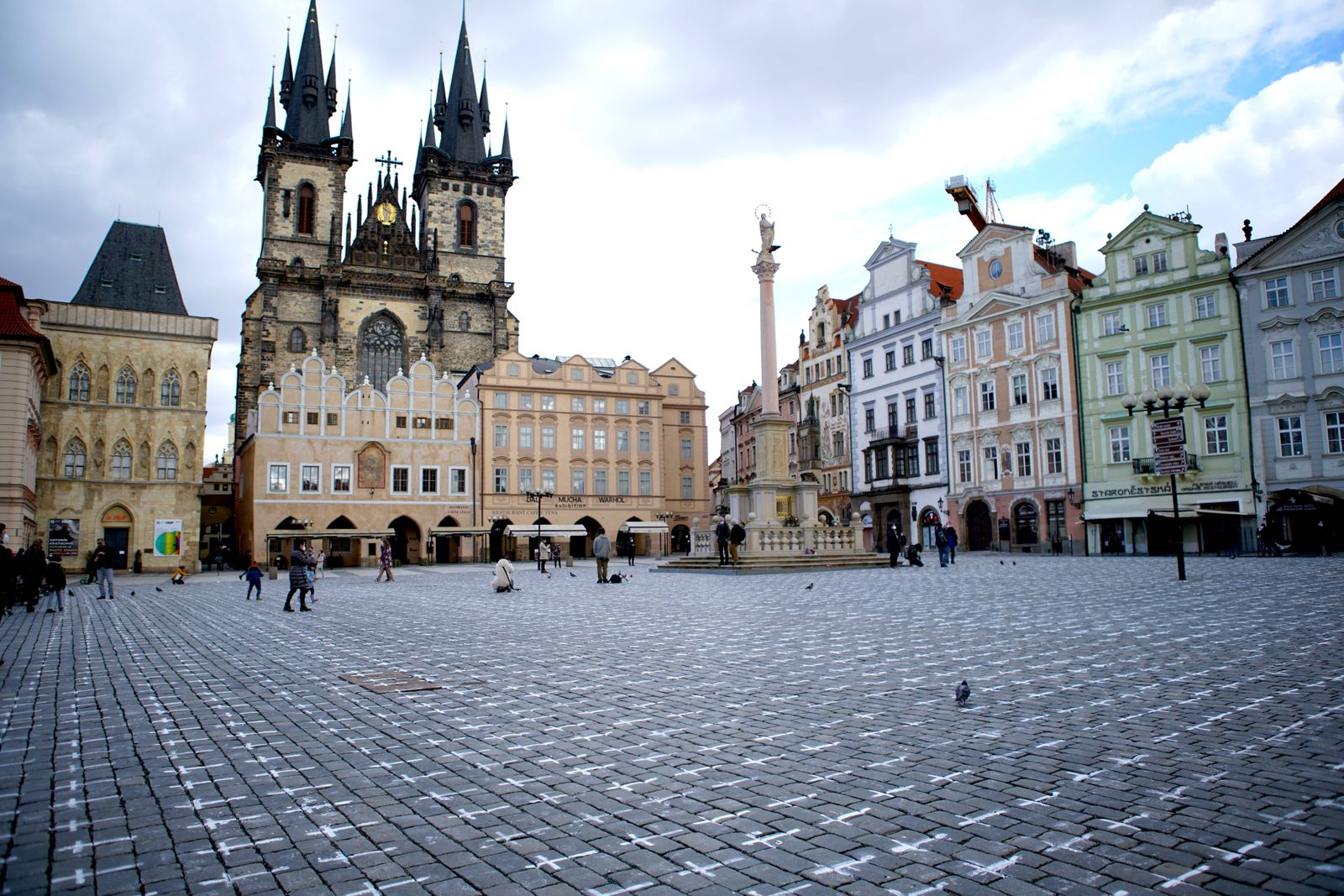 (210323) -- PRAGUE, March 23, 2021 -- The ground of the Old Town Square is seen painted with thousands of white crosses