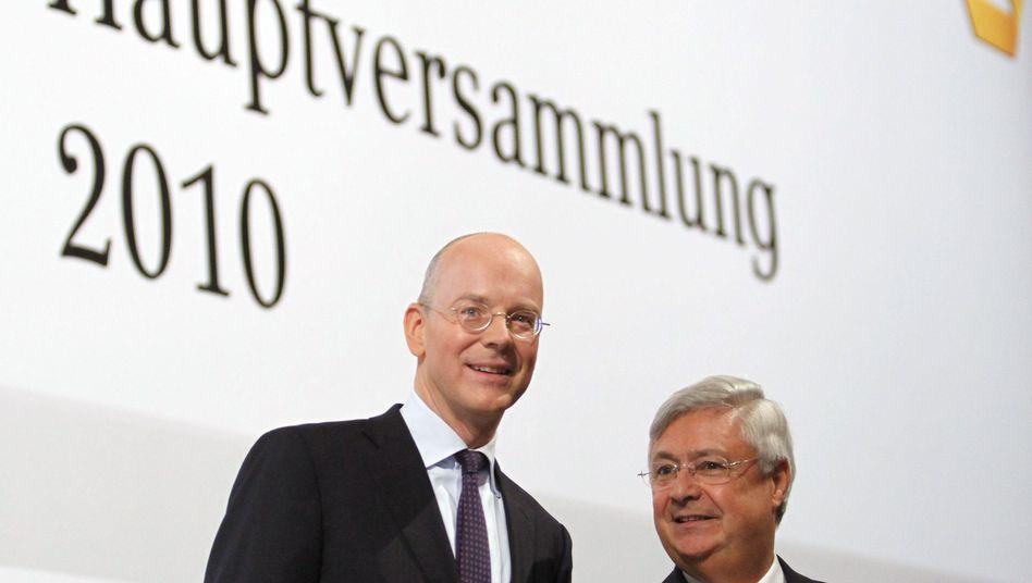 Commerzbank-Chef Blessing (l.): Ohne Top-Gehälter keine schnellen Gewinne