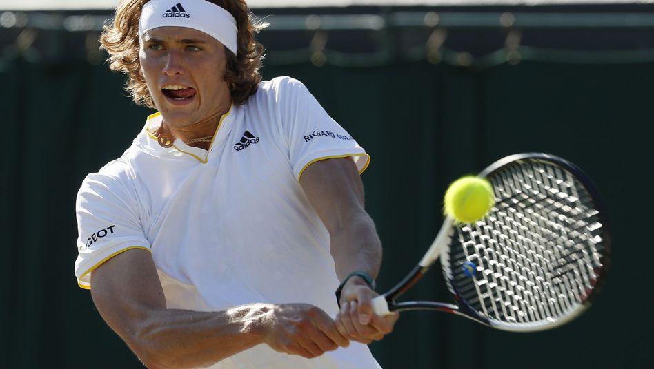 Alexander Zverev, 20, playing at Wimbledon on Saturday