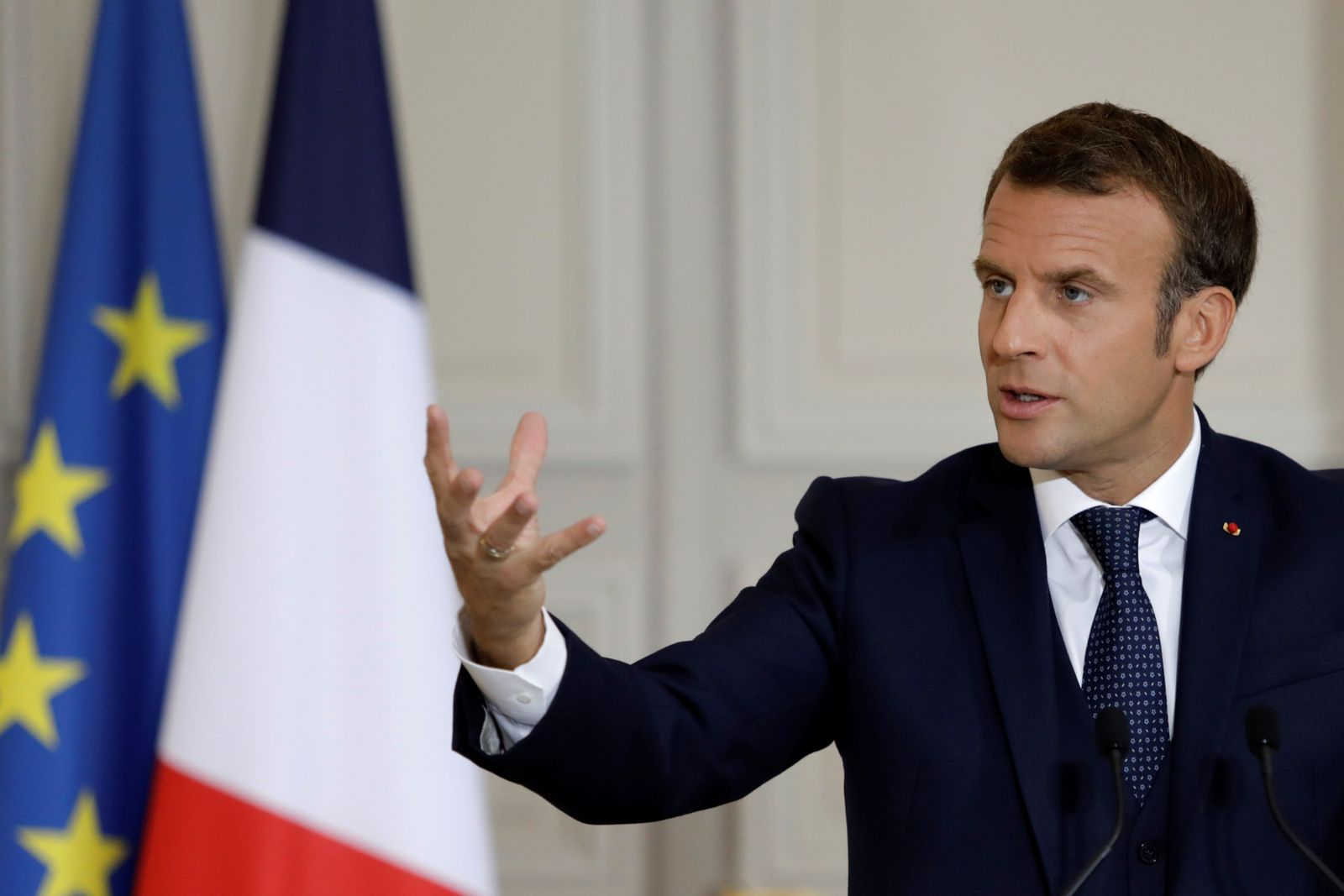 French President Emmanuel Macron holds a news conference on the political situation in Lebanon following Lebanon's Prime Minister-designate Moustapha Adib's resignation, in Paris
