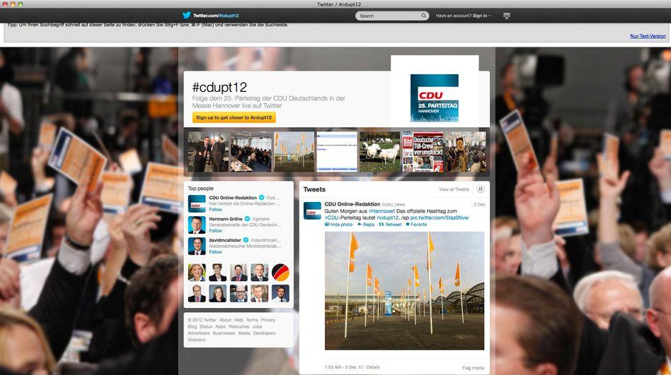 Twitter-Seite zum CDU-Parteitag: Besonders wichtig sind die offiziellen CDU-Vertreter