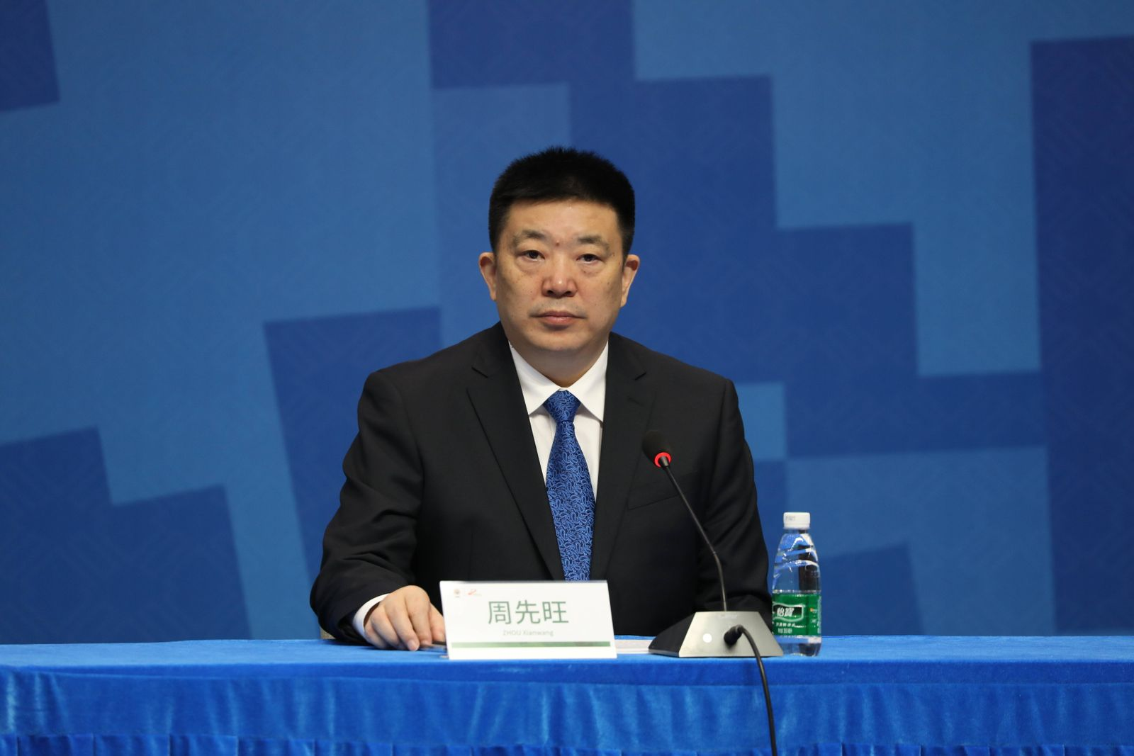 WUHAN, CHINA - OCTOBER 17: Zhou Xianwang, mayor of Wuhan, attends a press conference marking one-day countdown of the 7t