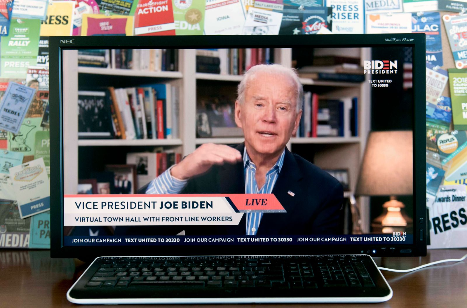 April 15, 2020 - Wilmington, Delaware, U.S. - A screen grab of Vice President JOE BIDEN as he holds a virtual town hall