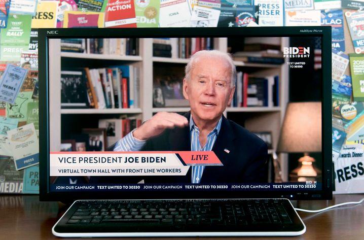 Der designierte Kandidat der Demokraten, Joe Biden, spricht derzeit nur noch per Video oder Podcast aus dem Keller seines Hauses zu seinen Anhängern