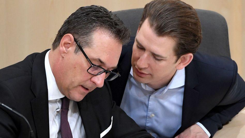Da arbeiteten sie noch zusammen: Strache und Kurz im April im Parlament