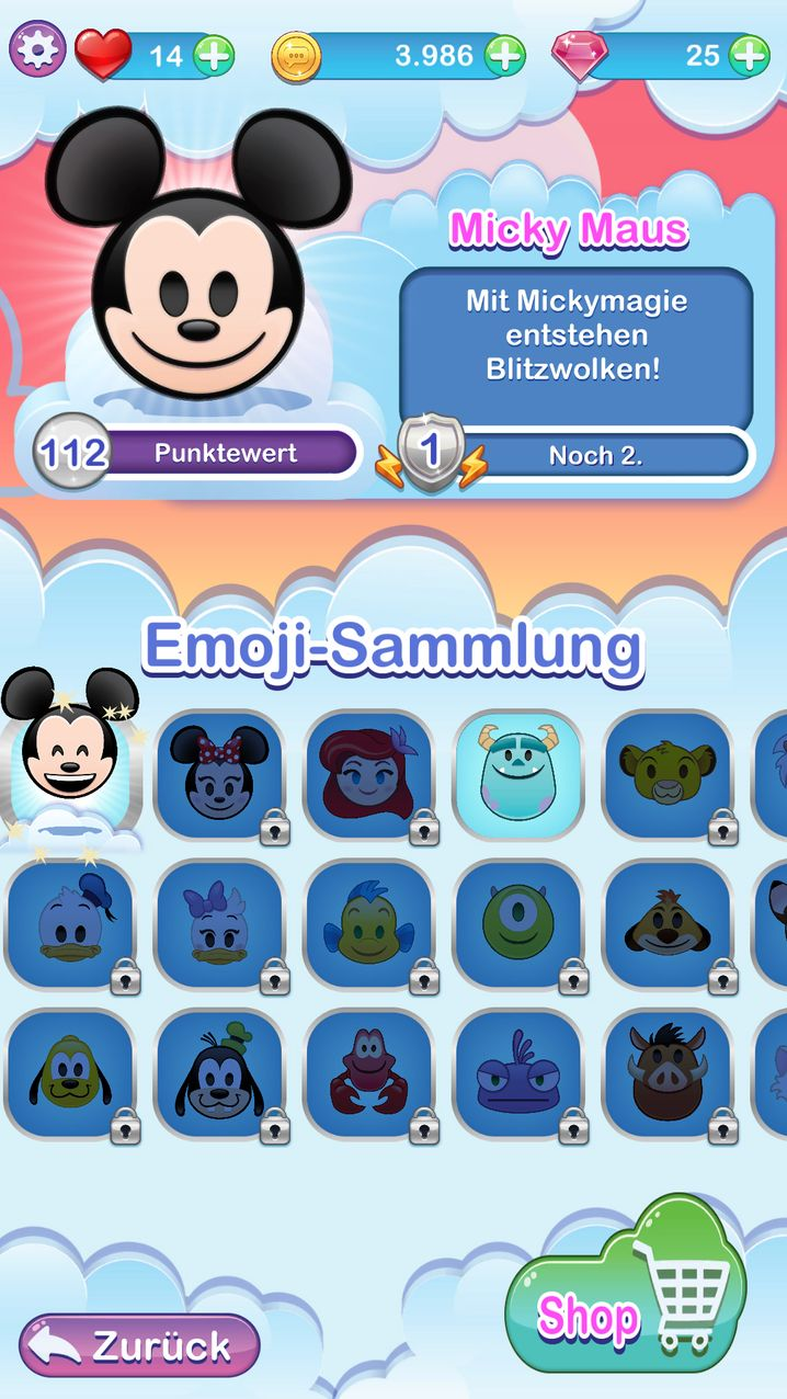 Bis zu 700 Emojis kann ich sammeln.